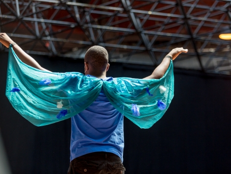Young man with his back to the camera holds his arms out and slightly above his head, showing off blue fabric wings with stars on them.