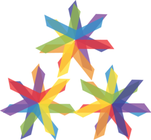 Three multicolor asterisk marks arranged in a triangle