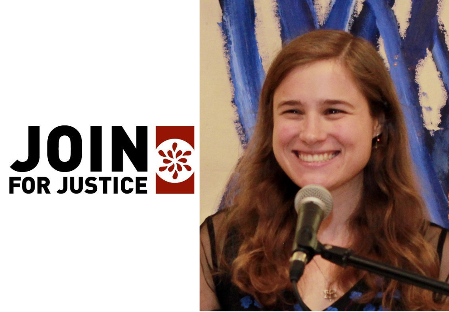 The words 'JOIN for Justice' next to Allegra, a white woman with should-length brown hair, smiling for a picture