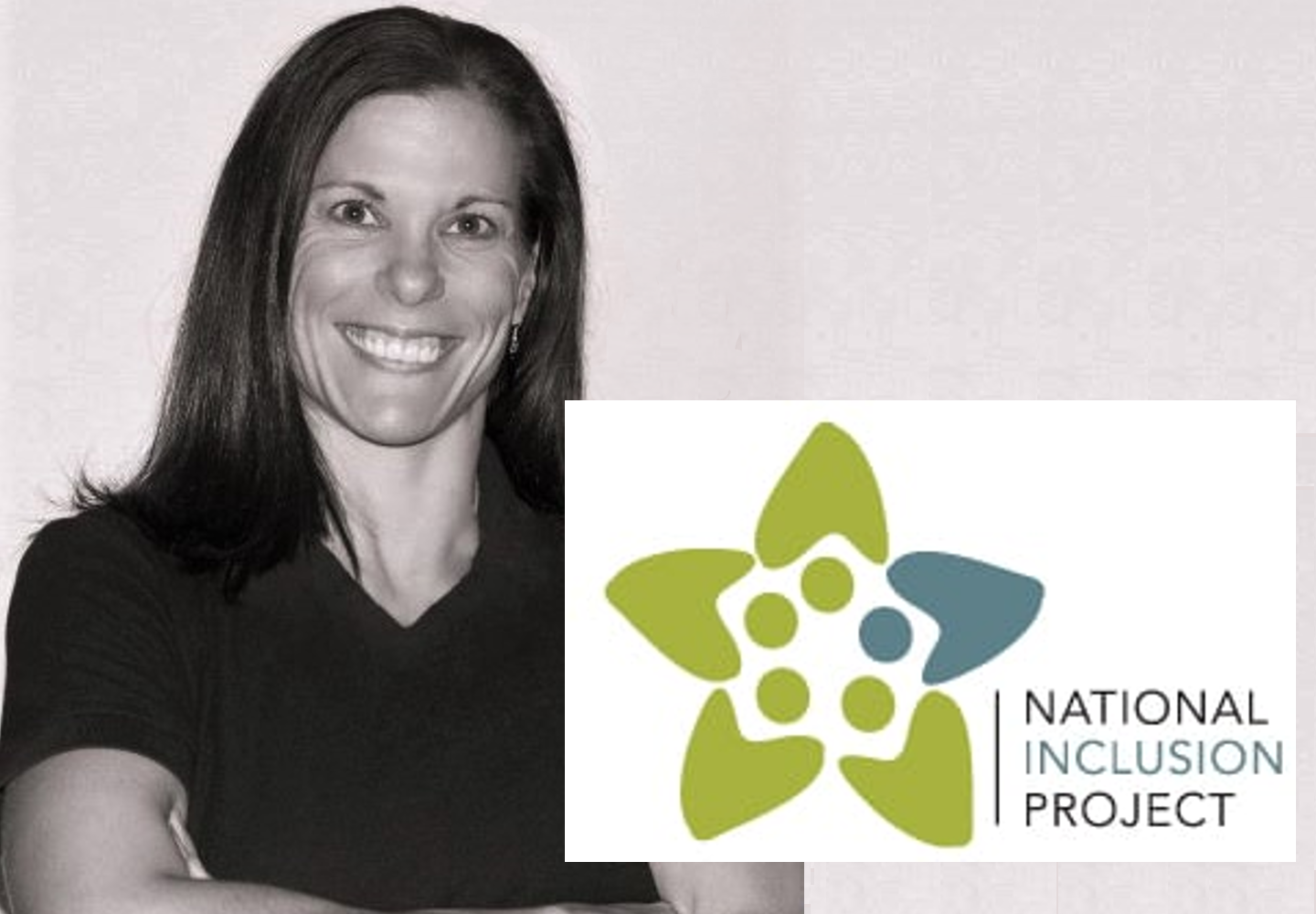 Black and white headshot of Amanda Kloo, a smiling woman with dark, shoulder-length hair. Superimposed over the headshot is the National Inclusion Project's logo.