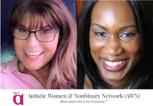The headshots for Sharon & Morenike are side-by-side, and below them, there's the logo and name of the Autistic Women and Nonbinary Network (AWN)